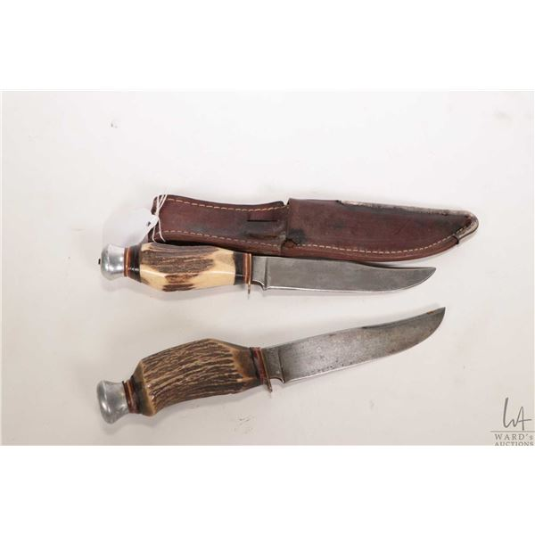 Two knives including Ontasco Allemagne stag handled hunting knife ( purportedly 1949) and a Premier