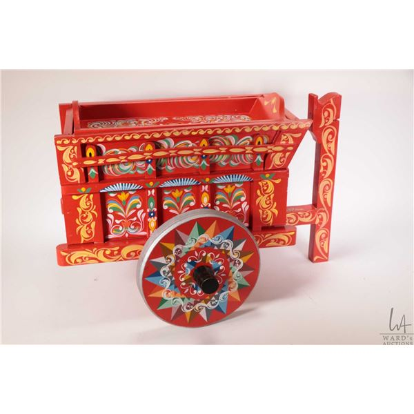 Hand painted and handcrafted cart with serving tray top. Note: Not Available For Shipping. Local Pic