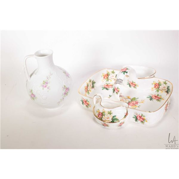 """Hammersley porcelain basket with attached cream and sugar and a Kaiser Monoco ewer 7"""" in height"""