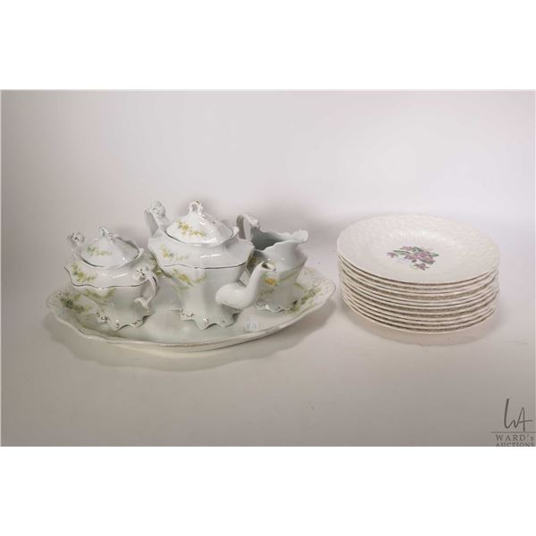 Selection of semi porcelain collectibles including W.H. Grindley & Co. teapot, large lidded sugar an