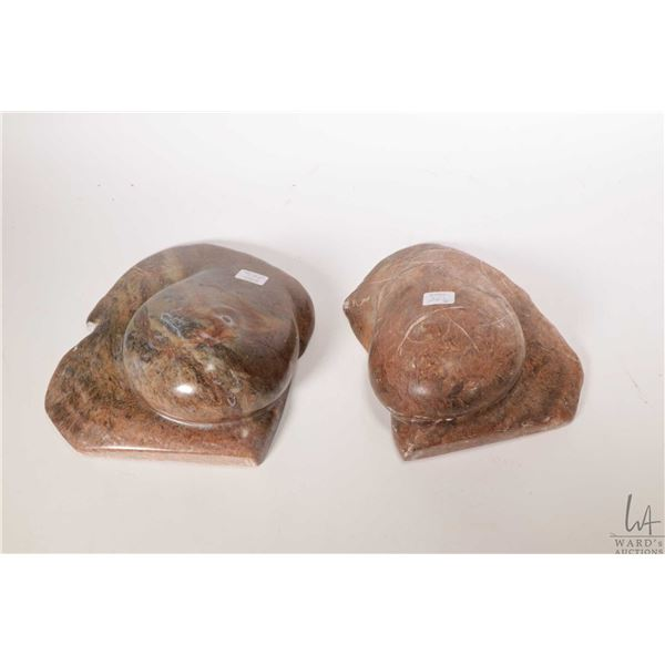 """Two hand carved soapstone breasts, no artist signatures seen, each approximately 8"""" in height and 7"""""""