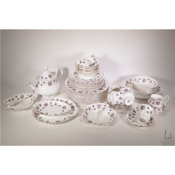 """Large selection of Royal Albert """"Sweet Violets' including nine dinner plates, ten luncheon plates, e"""