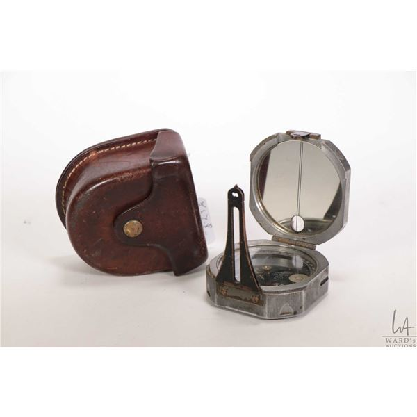 Brunton/Ainsworth pocket transit circa 1940 with original leather belt case