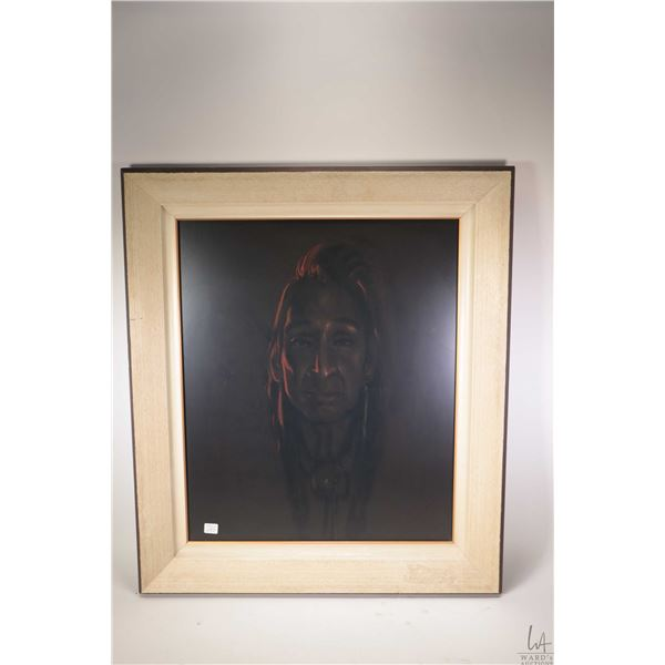 "Framed original pastel painting title ""Indian Ghost"" by artist Glenda Christoffer, 24"" X 20"". Note:"