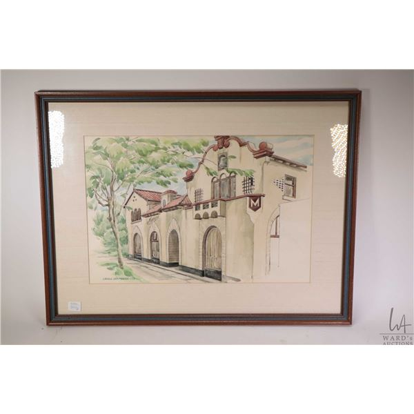 """Two framed original watercolour paintings including a family home 14"""" X 17"""" and titled """"Maxine"""" 12"""""""