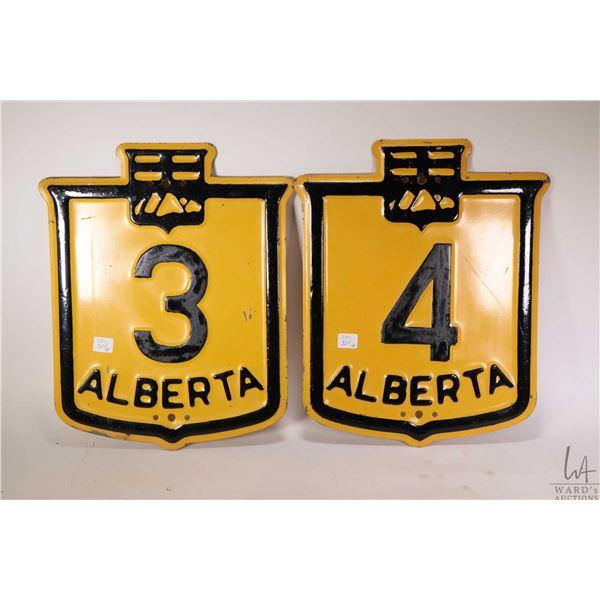 """Two vintage metal Alberta highway signs each 16"""" X 12"""""""