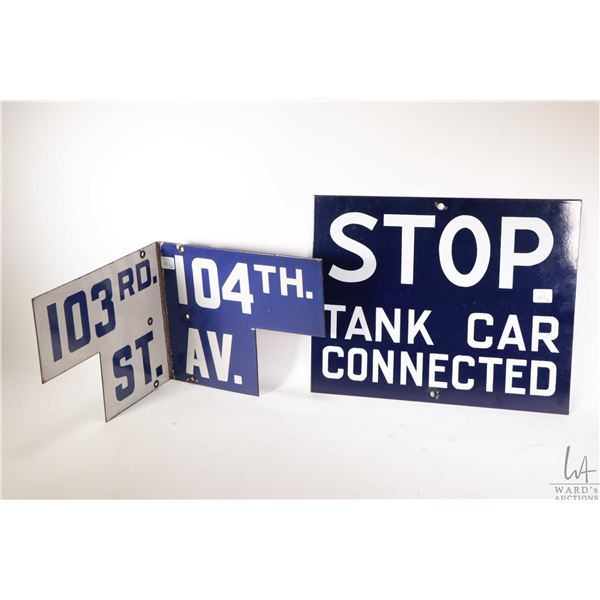 Two vintage metal signs including corner street sign and a railway tank car sign