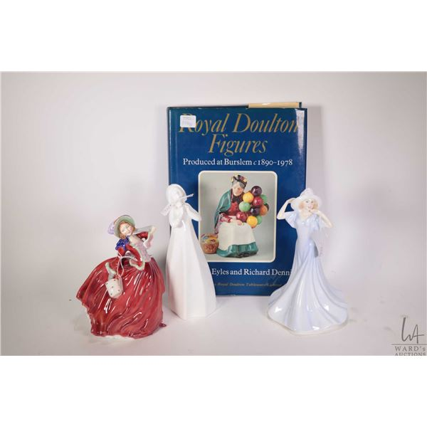 """Three Royal Doulton figurines including """"Autumn Breezes"""" HN1934, """"Olivia"""" HN3717 and """"Thankful"""" HN31"""