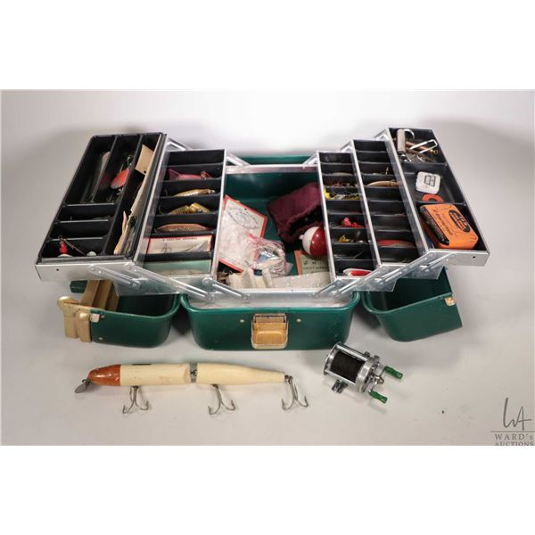 Vintage UMCO tacklebox with large assortment of vintage wood, metal and plastic lures and hooks, mak