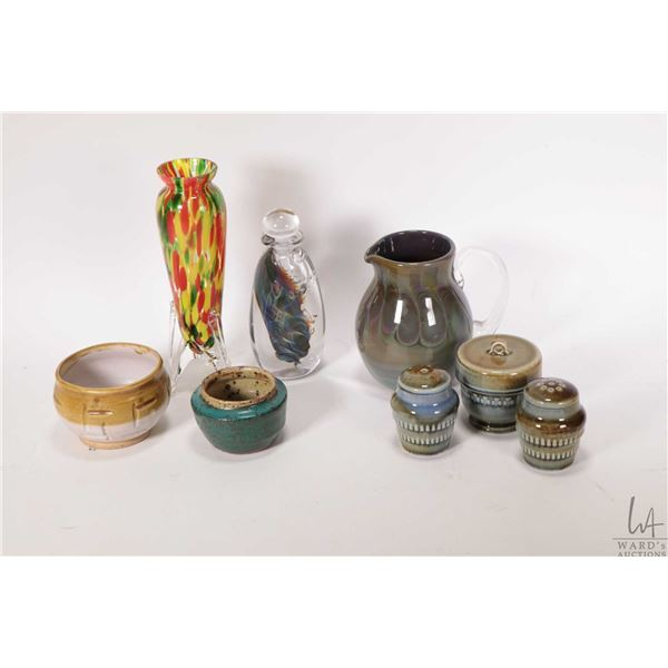 """Tray lot of collectibles including end of day glass pitcher with appliqued colourless handle 5"""" in h"""