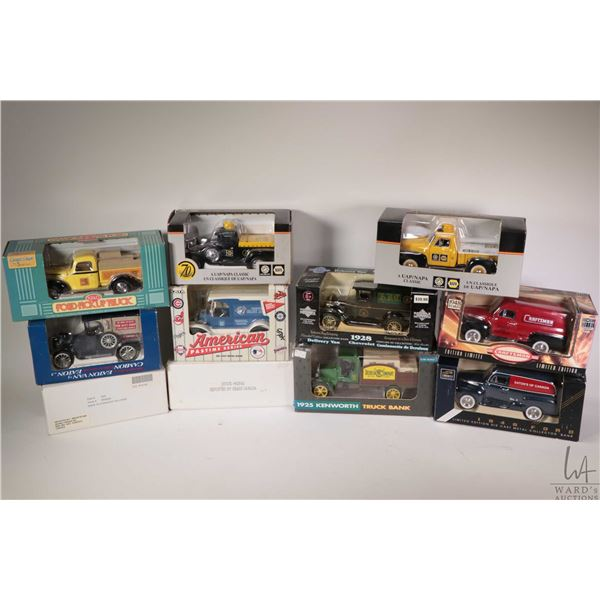 Eleven die cast model toy banks including Eatons Van, Napa Auto Parts, two Craftsman trucks and John