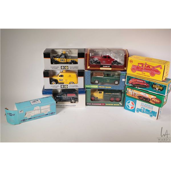 Eleven die cast model toy banks including Eatons, Napa, Texaco, John Deere, International, Shell Can