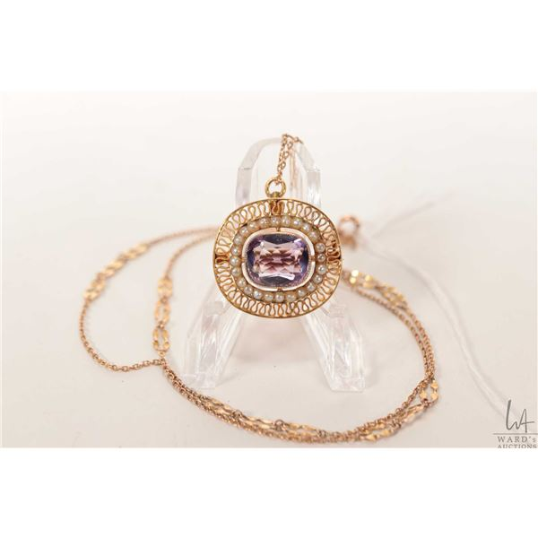 Antique Victorian 14kt yellow gold brooch/ pendant set with amethyst and seed pearl and a 14kt gold