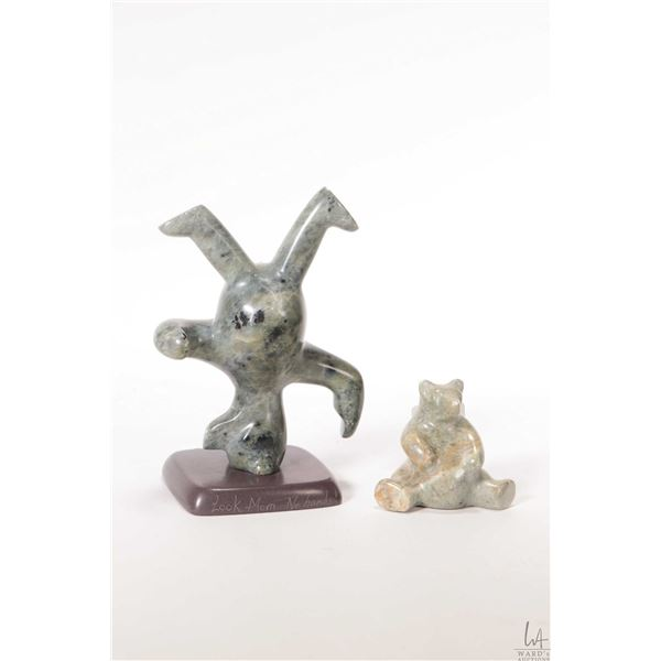 """Two hand carved soapstone bears including """"Look Ma...No Hands"""" signed by artist V. Bird 5 1/2"""" in he"""