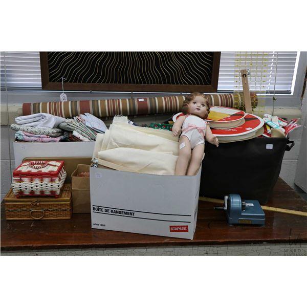 Selection of crafting supplies including cotton fabrics, elastic, spools of velcro, Daisy Kingdom do