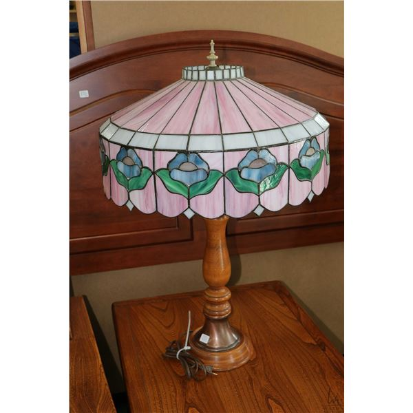 """Turned wooden table lamp with copper like accents and leaded and slag glass tulip shade, 31"""" high to"""