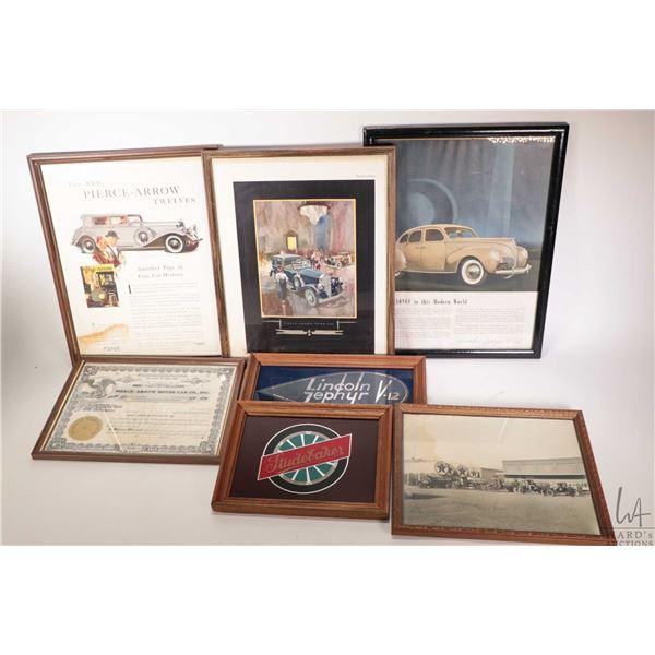 Tray lot of vintage car ephemera including framed Pierce Arrow advertisments, Pierce Arrow framed st