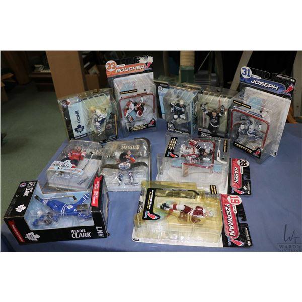 Ten factory sealed hockey action figures including Wayne Gretzky, Tie Domi, Curtis Joseph, Brian Bou