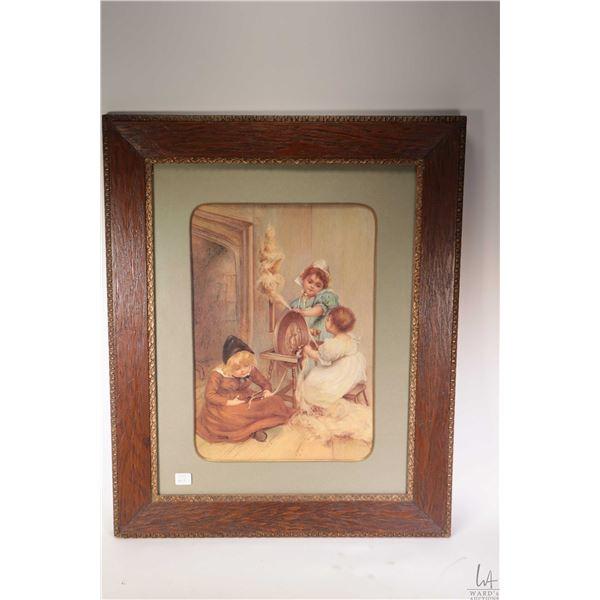 Vintage oak framed print of child labour at the spinning wheel