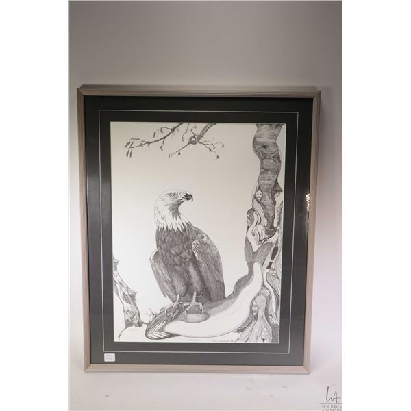 Framed limited edition print of an eagle and spirit tree 315/500 pencil signed by artist Roy Salopre