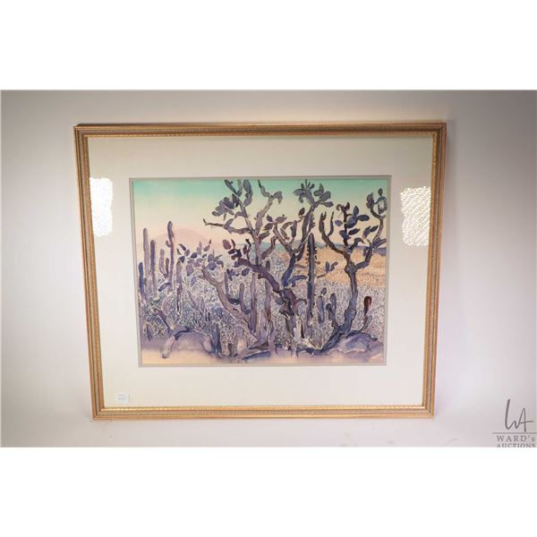 """Framed watercolour painting of a desert scene signed by artist Miriam Bowman 14"""" X 18"""""""