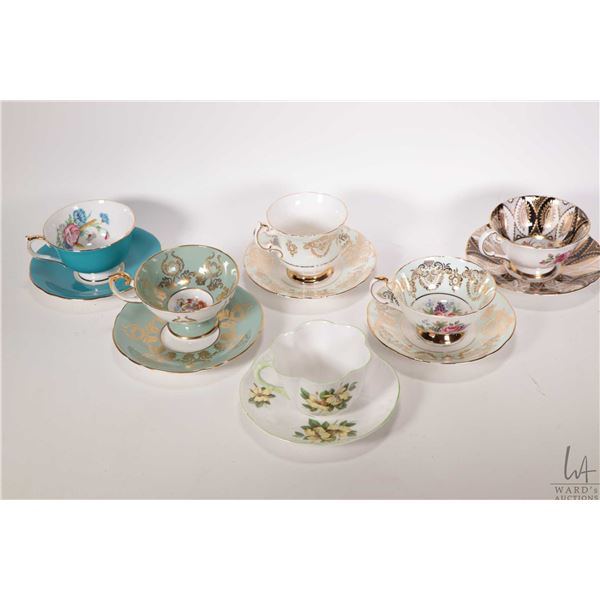 Six china cups and saucers including Shelley Hibicus, Paragon and Aynsley. Note: Not Available For S