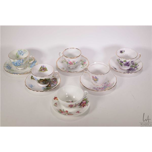 Six china cups and saucers including Royal Vale, Coalport, Rosslyn etc.