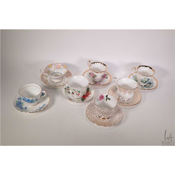 Seven china cups and saucers including Royal Albert, Royal Adderley, Hammersley etc.