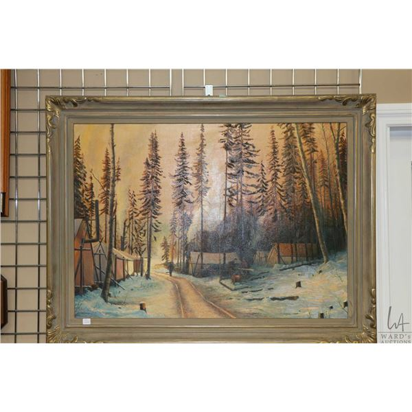 """Framed oil on canvas painting of a logging camp signed artist H.H. Leeming 1940, 26"""" X 36"""". Note: No"""