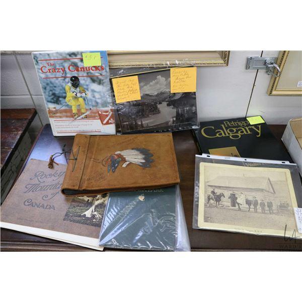 Framed Bow Valley hand coloured photograph, a Vermillion, AB souvenir album with hand painted leathe