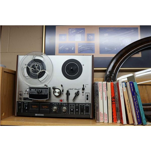 Shelf lot of collectibles including Akai reel to reel tape recorder, selection of tapes plus an anti