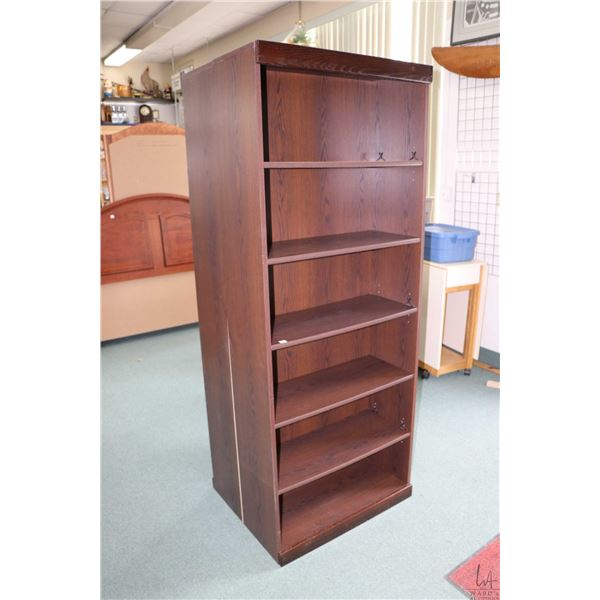 """Pair of modern particle board, six tier shelving units, 76"""" in height"""