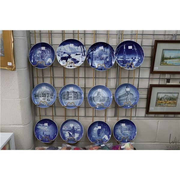 Twelve Royal Copenhagen collectible plates including four made exclusively for Reed China and featur