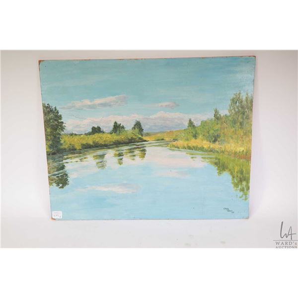 """Unframed acrylic on massonite titled """"Irrigation Ditch"""" and signed by artist Crane Thomas '77, 16"""" X"""