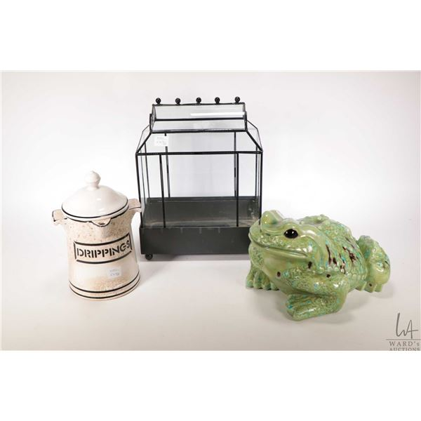 """Glazed ceramic frg  10 1/2"""" in length, antique drippings container and a miniature greenhouse style"""