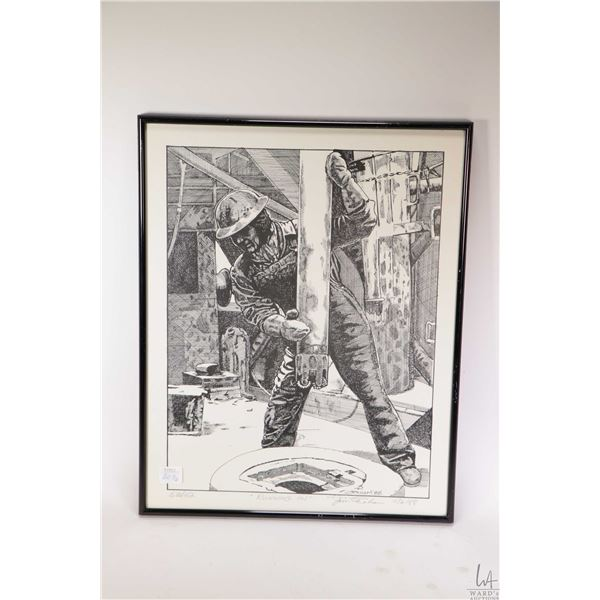 """Two limited edition oil rig related prints including """"Nabors Rig 30"""" 4/30 pencil signed by artist Ad"""