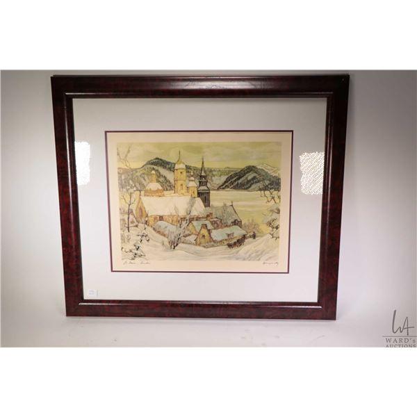 Framed print titled St. Jean, Quebec by artist Hornyansky