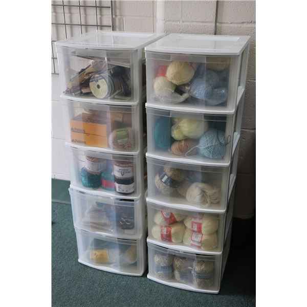 Two five drawer plastic storage totes and contents including a selection of tapestry wool, balls of