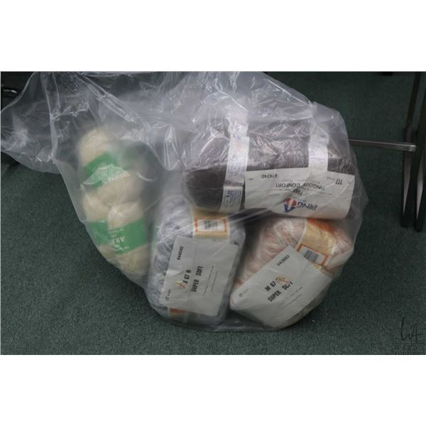 Bag containing bundles of hand knitting yarn include twenty pack of Super Soft blue and white 50 gra