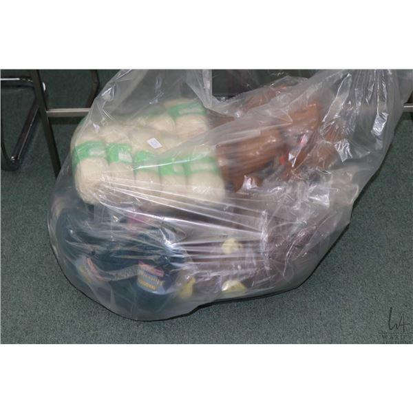 Bag containing bundles of hand knitting yarn including ten 50 gram balls of Aran pure wool, twenty f