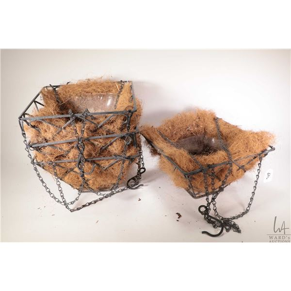 """Four 12"""" square diamond motif planters with chain hangers and coco liners"""