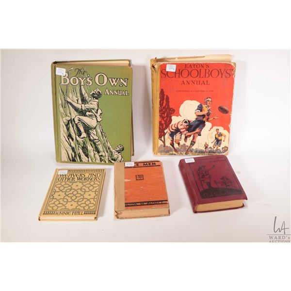 Five hardcover books including The Boy's Own Annual 1934-1935 ( Volume 57), Eaton's School Boys Annu