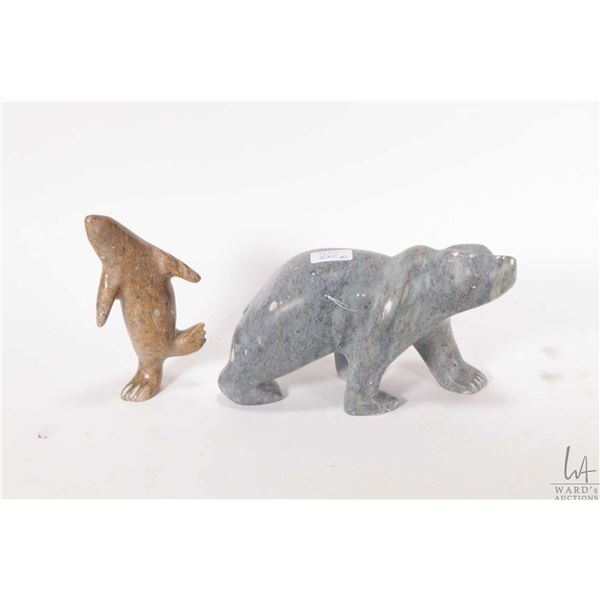 """Soapstone carved bear 6 1/2"""" in length signed by artist V. Bird, note some small chipping and rubs,"""
