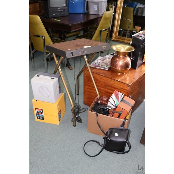 Selection of camera accessories including Kodak Brownie 8 video projector, SV projector table, Polar