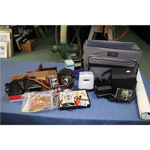 Selection of cameras and camera equipment including Polaroid Sun 600, Targa Quartz Date, Keystone Ev