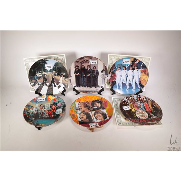 Selection of six Beatles motif collectible plates made by Delphi for Franklin Mint including Beatles