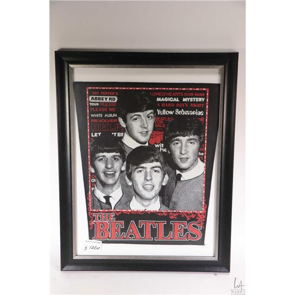Three framed Beatles collectibles including two black and white prints and a printed fabric possibly