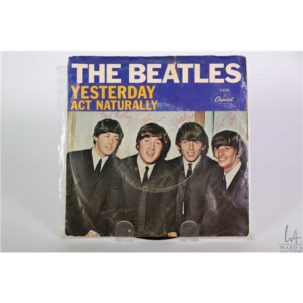 Beatles Yesterday and Act Naturally 45 rpm single with outer sleeves marked Capitol Records marked 5