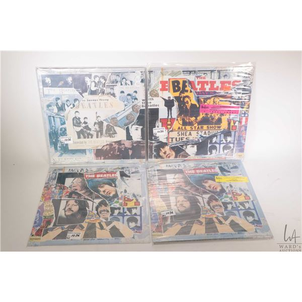 Three Beatles LPs including reissued Anthology I. II, III by EMI Apple UK plus extra album covers