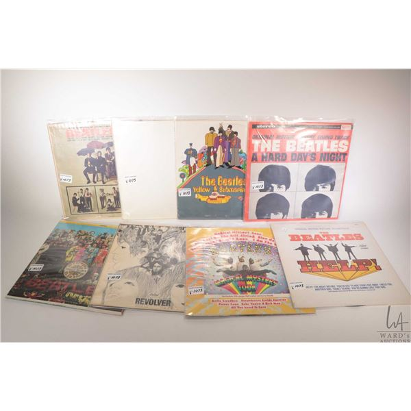 """Eight Beatles LPs including """"Hard Day's Night"""" (Canada), """"Yellow Submarine"""" (US pressing), """"White Al"""